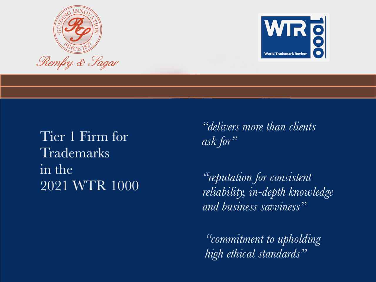 WTR 1000 2021: Remfry & Sagar receives Gold Ranking
